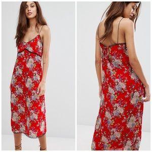 ASOS WYLDR Floral Lace Slip Midi Dress